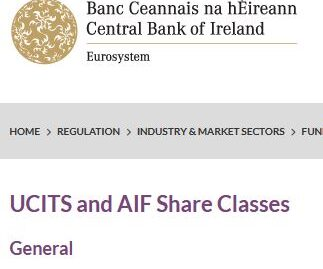 CBI Guidance - UCITS And AIF Share Class Hedging