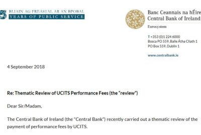 CBI - Thematic Review of UCITS Performance Fees 2018