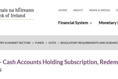 CBI Guidance - Umbrella Funds - Cash Accounts Holding Subscription, Redemption and Dividend Monies